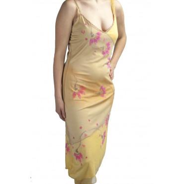 Elegant Sheath Dress Woman L Yellow Gradient - Pink Flowers Beads