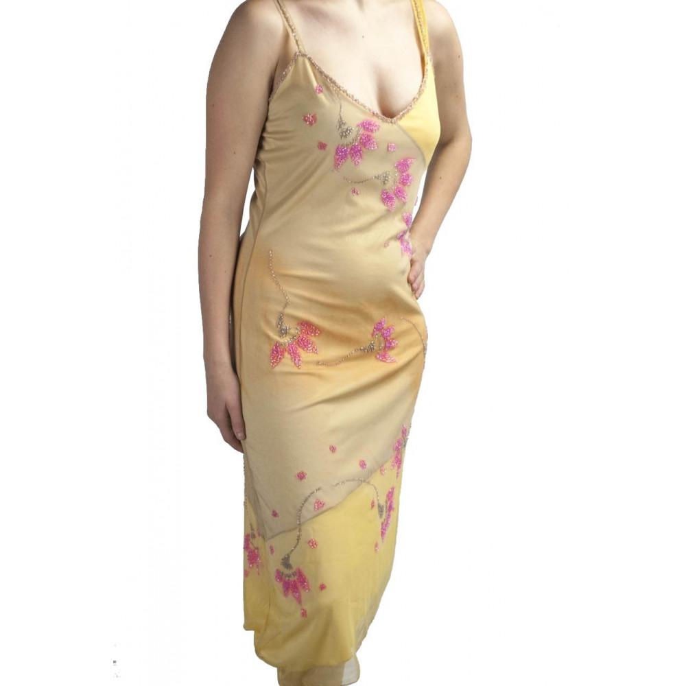 Abito Donna Tubino Elegante L Giallo Sfumato - Fiori Rosa Perline