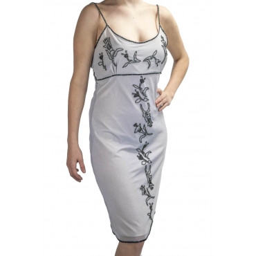 Elegant Sheath Dress Woman M Light Gray - Central Black Beads Embroidery