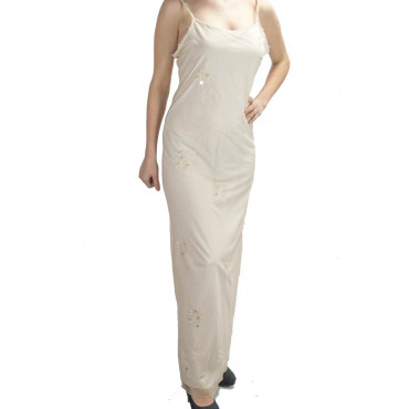Elegant Woman Long Sheath Dress M Light Ivory - Floral Embroidery and Beads