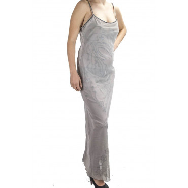 Elegant Woman Long Sheath Dress M Light Gray - Embroidery Tulle Black beads