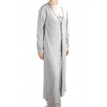 Woman Long Overcoat Elegant M Light Gray - Embroidery Tulle Black beads