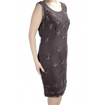 Elegant Woman Sheath Dress M Brown - Beaded Stars