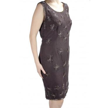 Vestido Tubo Mujer Elegante M Marrón - Estrellas Con Cuentas
