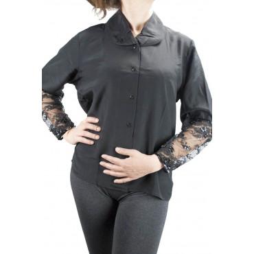 Camicia Donna Nera Pura Seta Maniche in Pizzo - M L