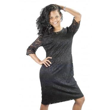 Pierre Cardin Shift Dress Women's 42 Black Lace