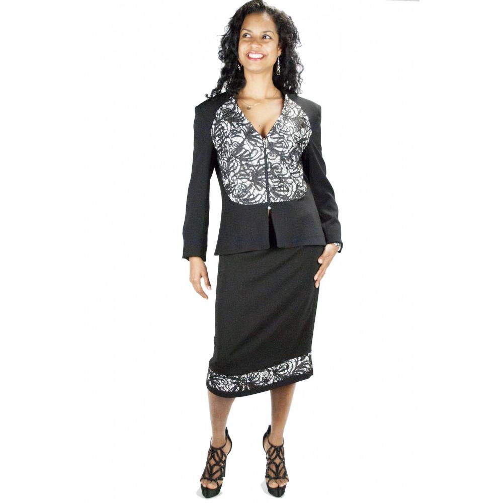 Pierre Cardin Women's Suit XL 48 Black Blue White Pinstripe - Complete Jacket with Pants