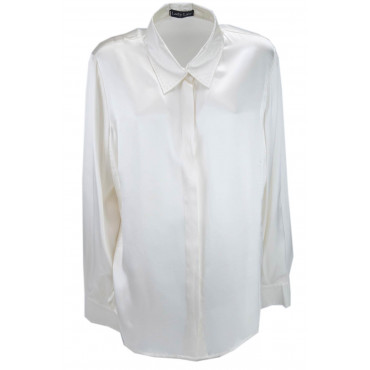 Women's shirt Collar Ivory 100% Pure Silk Satin - hand-Stitched -Large Sizes