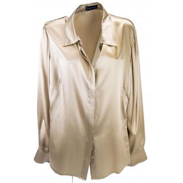 Camicia Donna Colletto Beige 100% Pura Seta Raso 56 58 - Impunturata a mano -Grandi Taglie