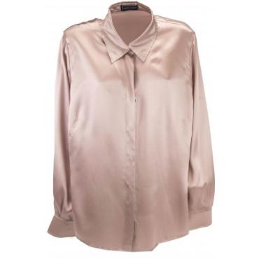 Camicia Donna 56 Colletto Rosa Antico 100% Pura Seta Raso - Impunturata a mano -Grandi Taglie