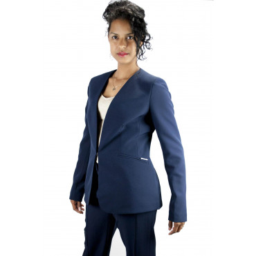 Pierre Cardin Women's Suit 50 XL Blue Complete Jacket with Palazzo Pants