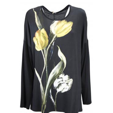 Jersey Femmes XXL Tulipe Noire col rond manches Longues