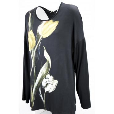 Maglia Donna XXL Tulipano  Nera girocollo manica Lunga