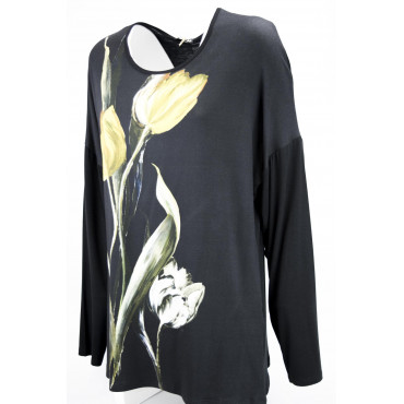 Jersey Women XXL Tulip Black crew neck Long sleeve