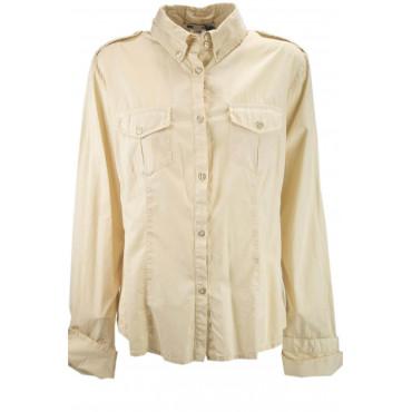 LES COPAINS WOMEN's SHIRT +jacket POCKETS BEIGE COTTON XL 48 - Dresses, Shirts, t-shirts