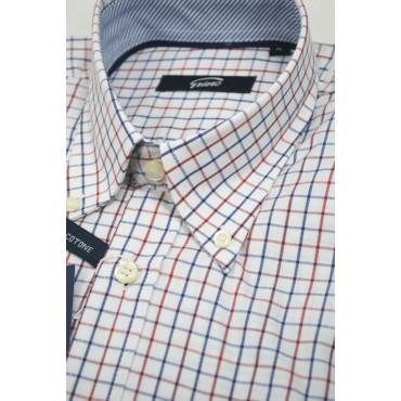 Man shirt ButtonDown Blue plaid Red White background - contrasting collar