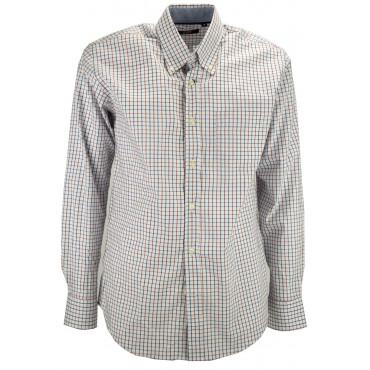 T-shirt Mann ButtonDown Karo Blau Rot Weiß-hintergrund - kontrast kragen