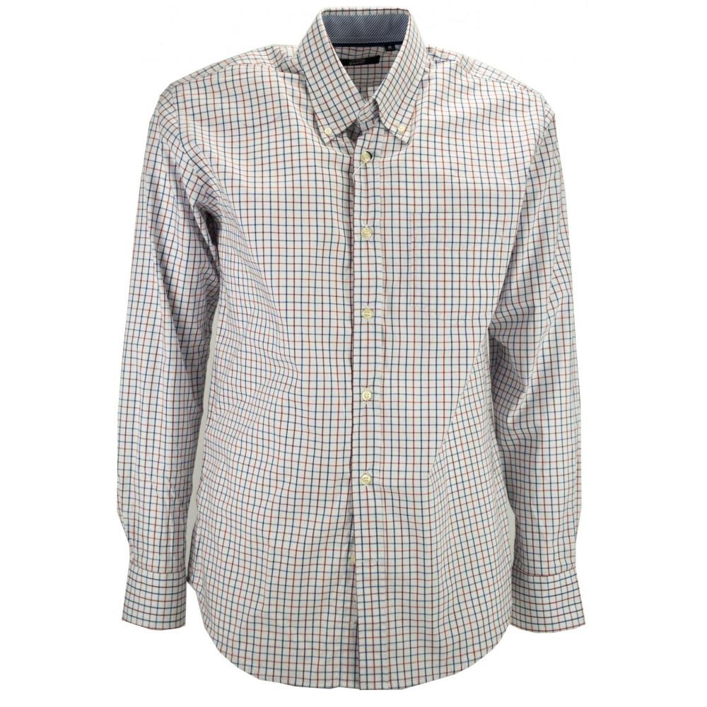 Camicia Uomo ButtonDown Quadri Blu Rosso sfondo Bianco - colletto contrasto