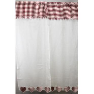 Coppia Tende Porta Finestra 60x240 Bianco Cuori Rosso a Quadretti New Breast