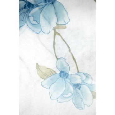 Tenda Pannello Anelli 140x280 Bianca Fantasia Floreale Celeste Magnolia