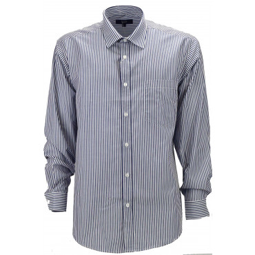 Classic shirt Men Dark Blue Stripes background, White - collar French