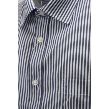 Camicia Classica Uomo Righe Blu Scuro sfondo Bianco - colletto Francese