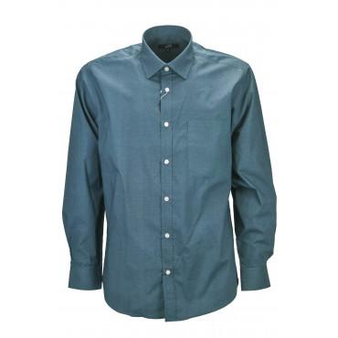 Camicia Classica Uomo Quadri Azzurro tipo lino - Button Down