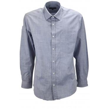 Camicia Classica Uomo Celeste Jeans Motivo Rombi - colletto Francese