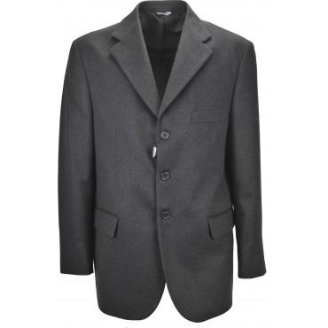 Chaqueta clásica para hombre 54 Drop 4 Tela de lana de cachemir gris oscuro con 3 botones
