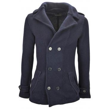 Daniele Fiesoli Jacket Man Sweater Wool M 48 Dark Blue double-Breasted