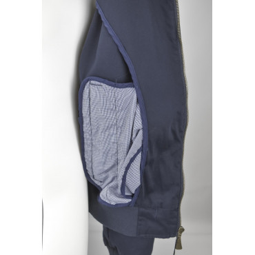Vest Cotton Man Dark Blue Bomber Jacket