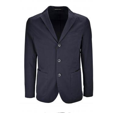 Casual Slimfit Jacket Man Dark Blue Cotton