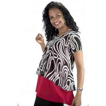 Pierre Cardin Blouse Woman Optical White Black Red Half Sleeve