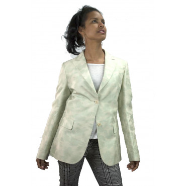 Jacket Woman Blazer size 42 S - Brocade, Milk-White Flowers Aquamarine - Cotton