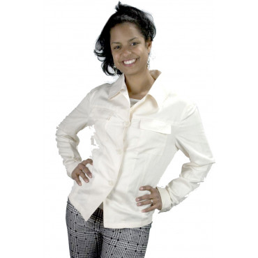 Short jacket Women's Pure Linen size 42 - White Ivory - No Brand Sample