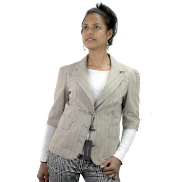 Ladies coat 3/4 Sleeves size 42 S - beige Cotton rows