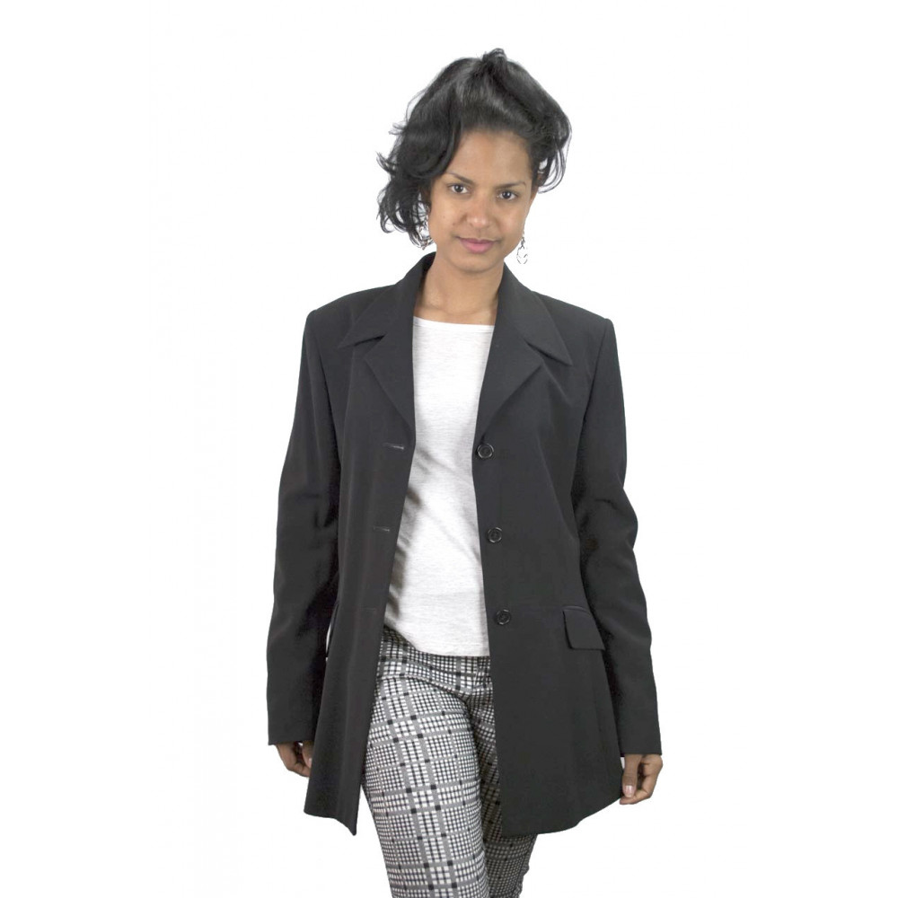 Jacket Blazer Women Lapel Puntalancia size 42 - Black Frescolana - No Brand Sample