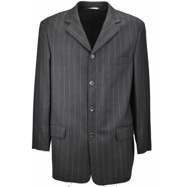 Men's Long Jacket 50 Pinstripe Gray Classic 4Buttons Pure Wool