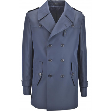 Men's Raincoat Double Breasted Blue 52 XL Slim Quilted Padded Coat
