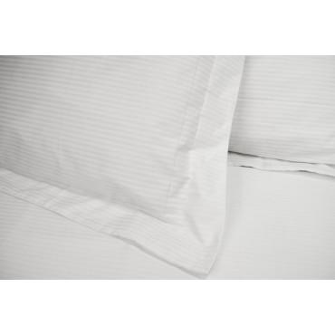 7440 Copripiumino Singolo Bianco Righe Verticali Percalle 155x250 + 1 Federa