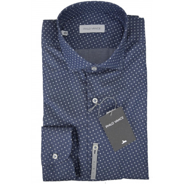 Man shirt Slimfitt Light Blue Small-Patterned spread collar small - Philo Vance - the Ganges Slim