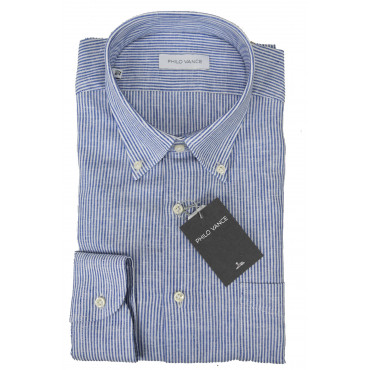 Man Shirt Linen Blend White Blue Stripes Button Down - Philo Vance - Dijon