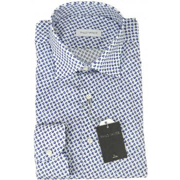 Camicia Uomo Elasticizzata Trifoglio Blu su Bianco collo Francese - Philo Vance - Astrid