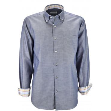 Man Shirt Blue Oxford Slub Button-Down - Philo Vance - The Chalkboard