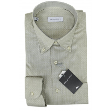 Man Shirt Beige Slub Polka Dot Button-Down - Philo Vance - Lemon