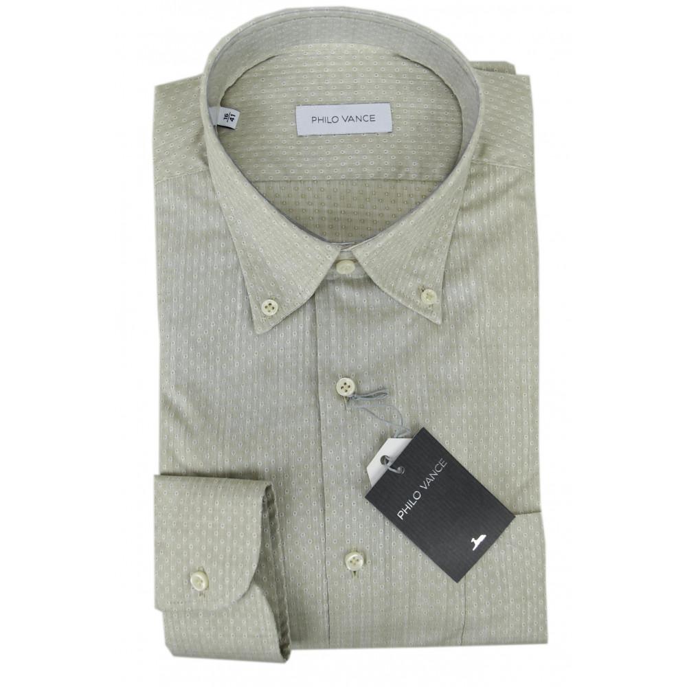 Man Shirt Beige Slub Polka Dot Button-Down - Philo Vance - Lemon