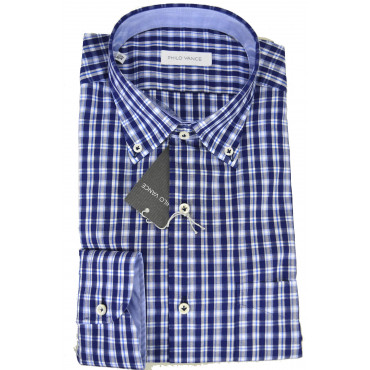 Camicia Uomo Blu Oxford Fiammato Button Down - Philo Vance - Carpineti