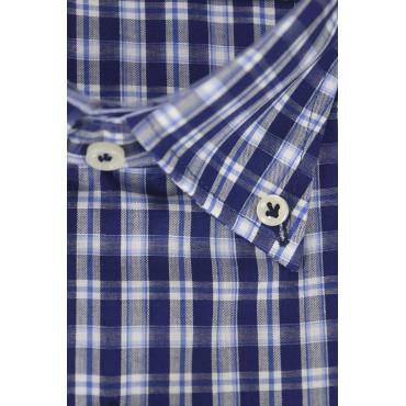 Man Shirt Blue Oxford Slub Button-Down - Philo Vance - Carpineti