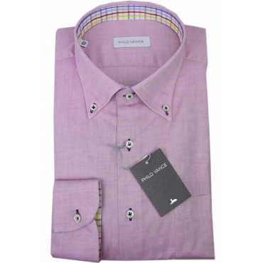 Camicia Uomo Rosa Oxford Fiammato Button Down  - Philo Vance - Lavagna