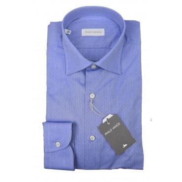 Camicia Uomo Formale Celeste Piccola Fantasia collo Francese - Philo Vance - Essex